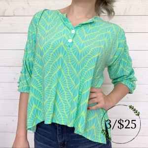 Escapada Bright Green and Blue Oversized Blouse